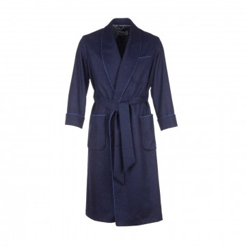 Cashmere Mens Dressing Gown - Navy