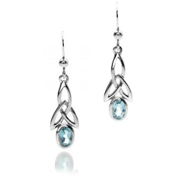 Celtic Trinity & Topaz Long Sterling Silver Earrings