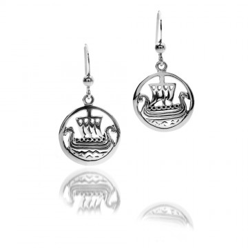 Celtic Viking Ship Sterling Silver Earrings