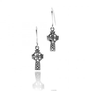 Celtic Cross Small Sterling Silver Earrings