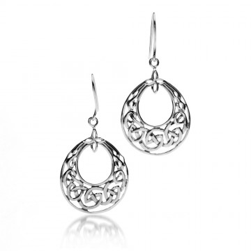 Celtic Hoop Sterling Silver Earrings