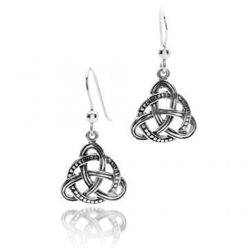 Celtic Knot Decorated Sterling Silver Earrings