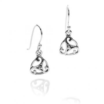 Triskele Circle Oxid Sterling Silver Earrings