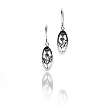 Celtic Thistle Oval Sterling Silver Earrings