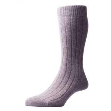 Pantherella Men's Waddington Cashmere Socks - Flannel Grey - Medium