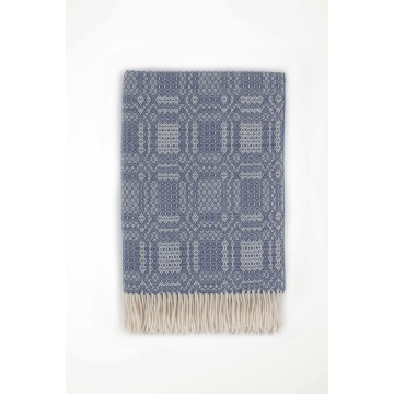 Johnston's of Elgin Lambswool Folkloric Throw - Blue