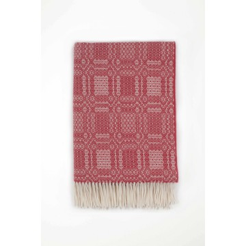 Johnston's of Elgin Lambswool Folkloric Throw - Red