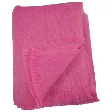 Bronte by Moon Fuschia Pink Mohair Throw