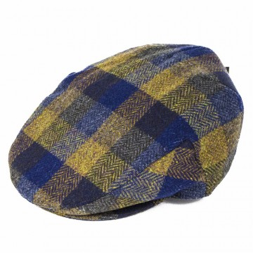 Failsworth Donegal Tweed Patchwork Cap - Blue/Yellow Herringbone Check