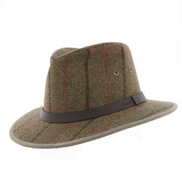 Failsworth Gamekeeper Safari Hat - Dark Green Windowpane Check