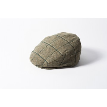 Failsworth Gamekeeper Tweed Flat Cap - Light Green Windowpane Check
