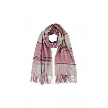 Cashmere Stole - Gingam Check Soft Berry