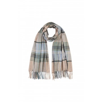 Cashmere Stole - Gingam Check Soft Forest