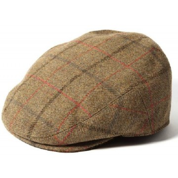 Failsworth Gamekeeper Tweed Flat Cap - Green/Red Windowpane Check