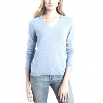 Glacier Ladies' V-Neck Sweater - 100% Cashmere Made in Scotland