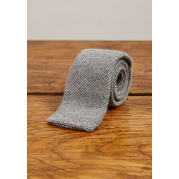 Cashmere Narrow Knitted Tie - Light Grey