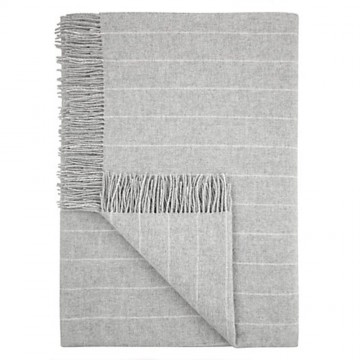 Pinstripe Lambswool Throw - Grey
