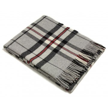 Bronte by Moon 100% Lambswool Tartan Throw - Grey Thompson