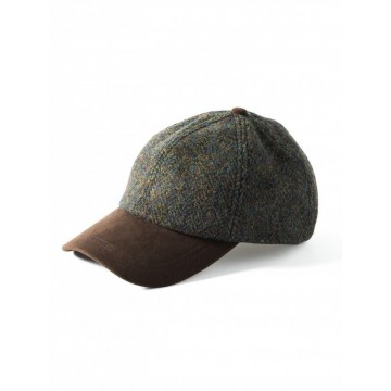Failsworth Harris Tweed Baseball Cap - Green Herringbone Check