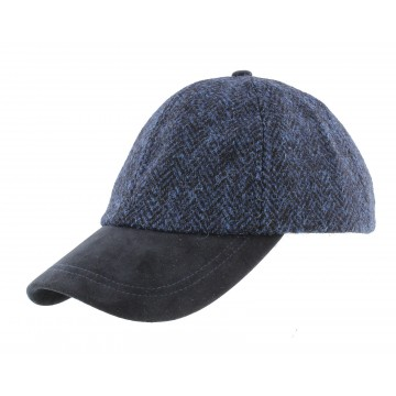 Failsworth Harris Tweed Baseball Cap - Blue Herringbone