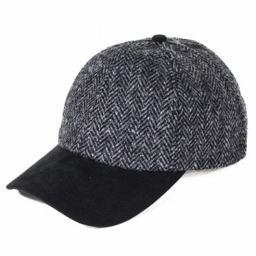 Failsworth Harris Tweed Baseball Cap - Grey Herringbone