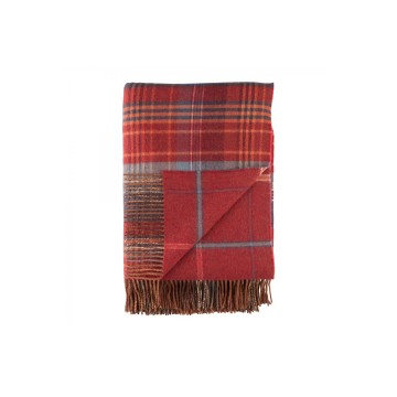 Johnston's of Elgin Lambswool Heritage Throw - Red