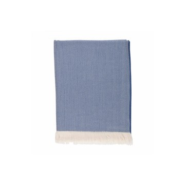 Johnston's of Elgin Extra Fine Merino Herringbone Throw - Blue
