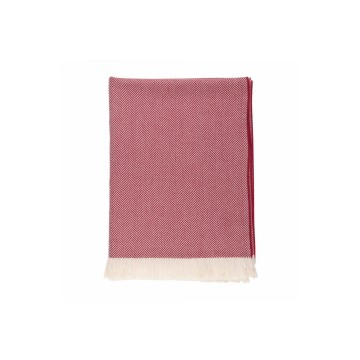 Johnston's of Elgin Extra Fine Merino Herringbone Throw - Cranberry