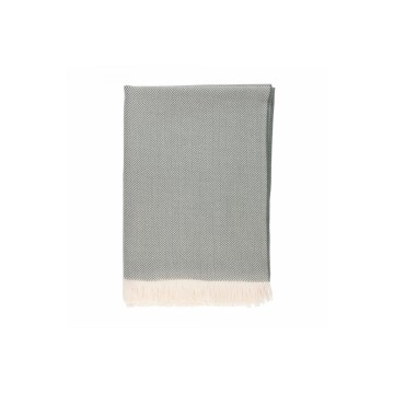 Johnston's of Elgin Extra Fine Merino Herringbone Throw - Green
