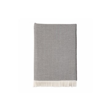 Johnston's of Elgin Extra Fine Merino Herringbone Throw - Grey