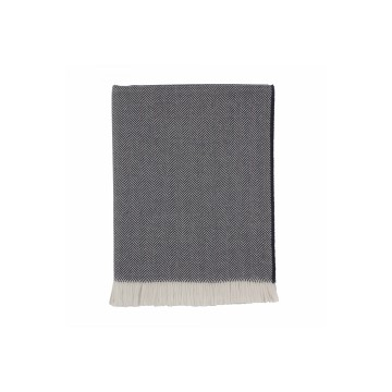 Johnston's of Elgin Extra Fine Merino Herringbone Throw - Navy