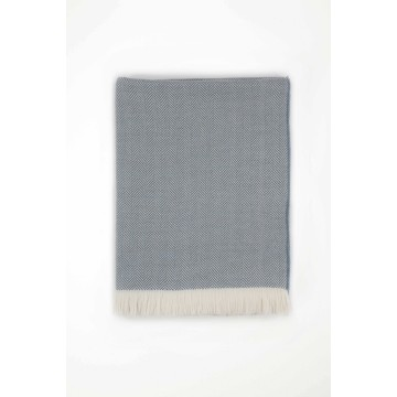 Johnston's of Elgin Merino Herringbone Bed Throw - Denim