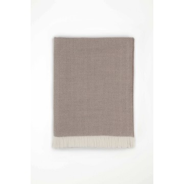 Johnston's of Elgin Merino Herringbone Bed Throw - Driftwood