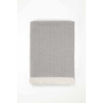 Johnston's of Elgin Merino Herringbone Bed Throw - Grey