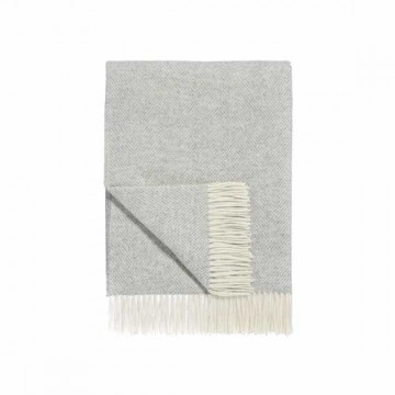 Herringbone Lambswool Throw - Light Grey