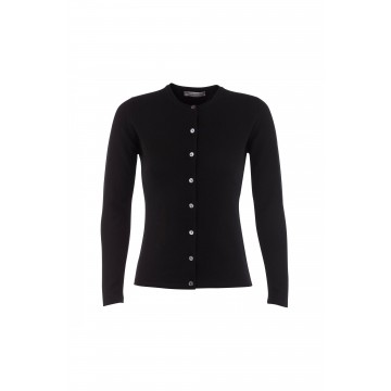 Cashmere Classic High Button Cardigan - Black