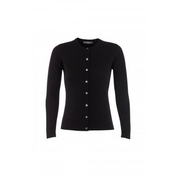 Cashmere Classic High Button Cardigan - Black