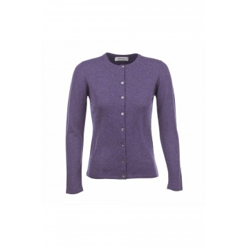 Cashmere Classic High Button Cardigan - Blackberry