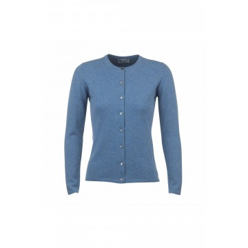 Cashmere Classic High Button Cardigan - Jean