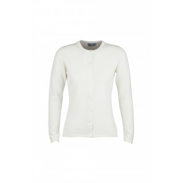 Cashmere Classic High Button Cardigan - White