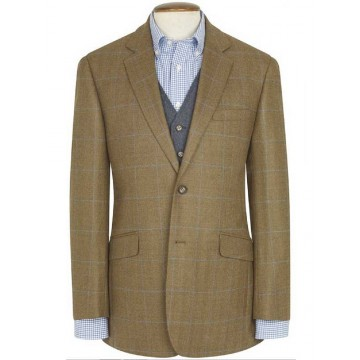 Hindhead Pure New Wool Tweed Jacket - Olive & Navy Check