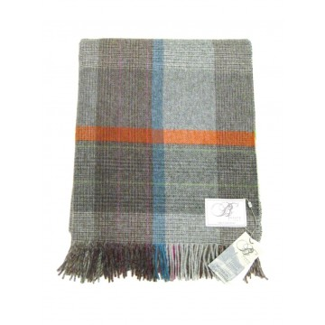 Patchwork Lambswool Throw - Grey