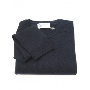 Navy Ladies' Crew Sweater - 100% Cashmere Made in Scotland