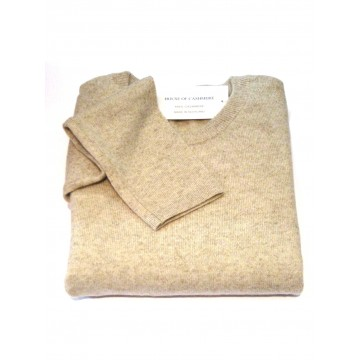 Linen Ladies' Crew Sweater - 100% Cashmere Made in Scotland