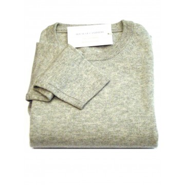 Oyster Grey Ladies' Crew Sweater - 100% Cashmere Made in Scotland