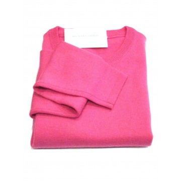 Fuchsia Ladies' Crew Sweater - 100% Cashmere Made in Scotland
