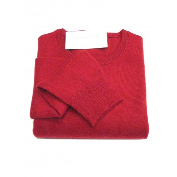 Claret Men's Crew Sweater - 100% Cashmere Made in Scotland