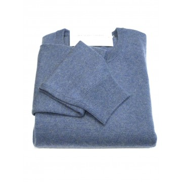 Denim Men's Crew Sweater - 100% Cashmere Made in Scotland