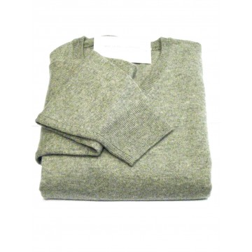 Light Grey Men's Crew Sweater - 100% Cashmere Made in Scotland
