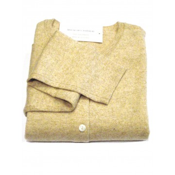 Linen Ladies' Crew Cardigan - 100% Cashmere Made in Scotland